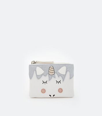 White Unicorn Zip Top Purse