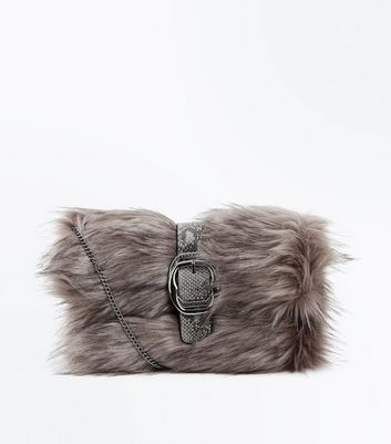 Grey Buckle Front Faux Fur Clutch