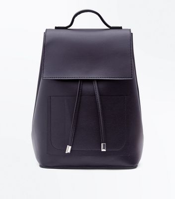 Black Drawstring Pocket Front Backpack