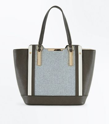 Grey Felt Panel Tote Bag