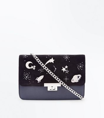 Black Space Pin Embellished Shoulder Bag