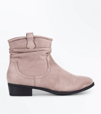 Teens Light Brown Suedette Slouch Western Boots