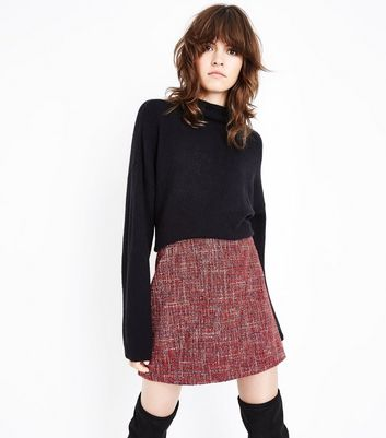 Red Boucle Mini Skirt