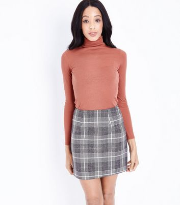 Light Grey Glitter Check Mini Skirt