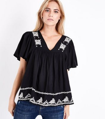 Black Lattice Back Embroidered Top