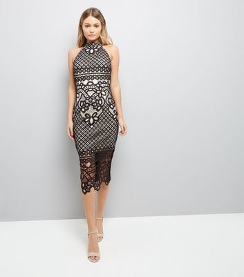 AX Paris Black Crochet Bodycon Midi Dress