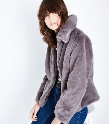 Grey Short Faux Fur Coat