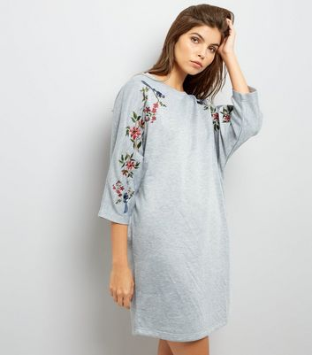 Grey Embroidered Batwing Sleeve Sweatshirt Dress