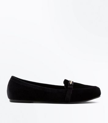 Wide Fit Black Velvet Metal Trim Loafers