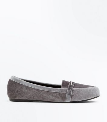 Wide Fit Grey Velvet Metal Trim Loafers