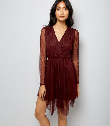 Burgundy Spot Mesh Hanky Hem Wrap Front Dress