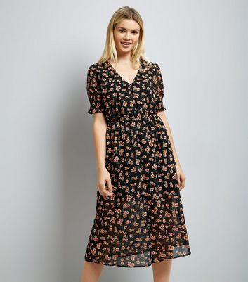Black Floral Print Button Front Floral Midi Dress