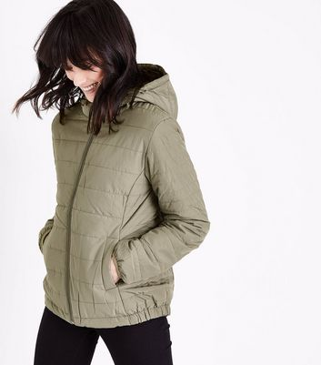 Olive Green Hooded Puffer Jacket
