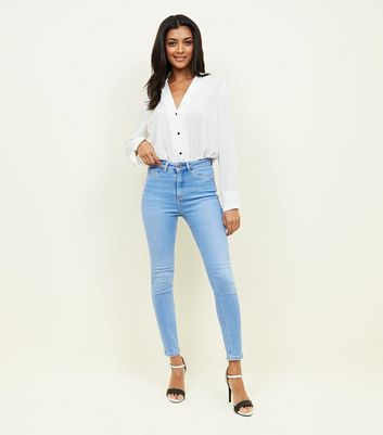 Bright Blue Fray Hem High Waist Hallie Jeans