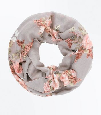 Grey Floral Print Snood