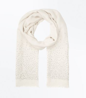 Cream Stud Embellished Scarf
