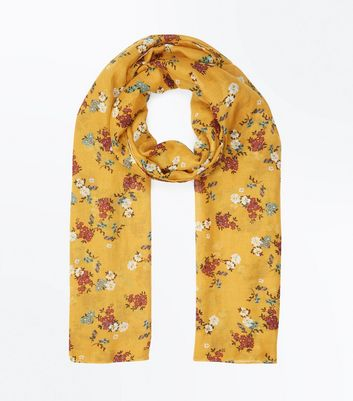 Yellow Floral Pattern Longline Scarf