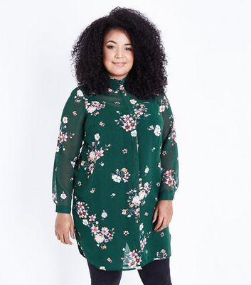 Curves Green Floral Print Longline Shirt