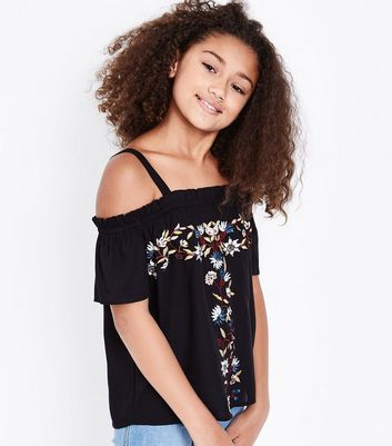 Teens Black Floral Embroidered Bardot Neck Top