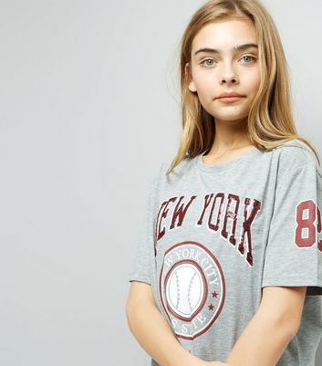 Teens Grey New York Print T-Shirt