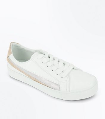 White Metallic Stripe Lace Up Trainers