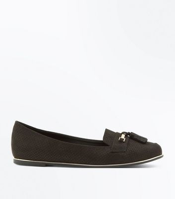 Black Suedette Tassel Metallic Trim Loafers