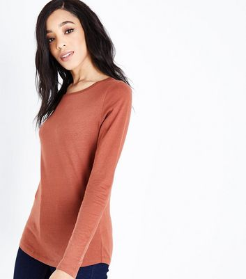 Tall Rust Crew Neck Long Sleeve Top