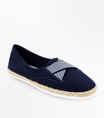 Navy Elasticated Cross Strap Espadrilles