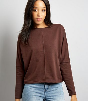 Brown Batwing Slouchy Sweater