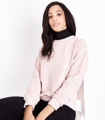 Shell Pink Ribbed Velour Sweatshirt