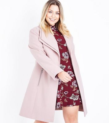 Curves Shell Pink Layered Collar Belted Coat