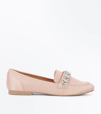 Pink Satin Embellished Slip On Loafer