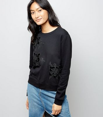 Black Lace Applique Sweatshirt