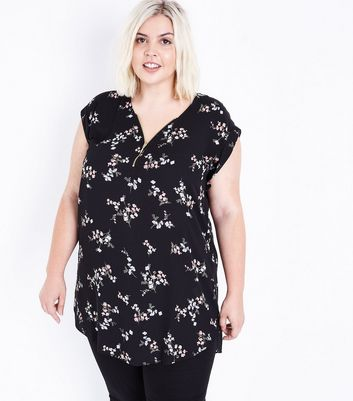 Curves Black Floral Zip Front Tunic