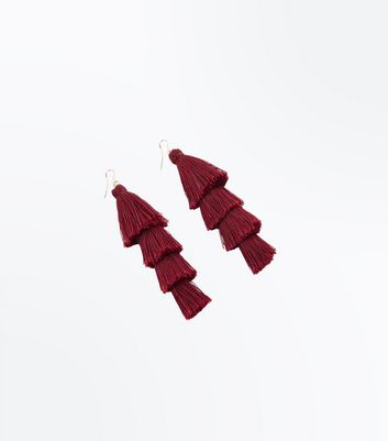 Red Long Tassel Earrings