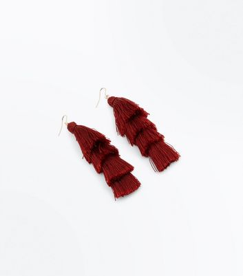 Burgundy Tiered Tassel Earrings