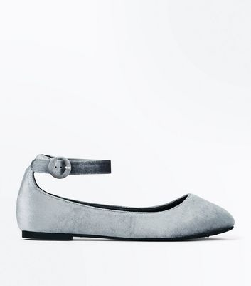 Wide Fit Grey Velvet Strap Ballet Pumps