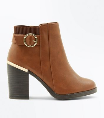Tan Metallic Trim Block Heel Boots