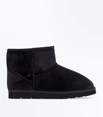 Black Velvet Faux Fur Lined Slip On Boots