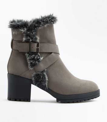 Grey Faux Fur Buckle Boot