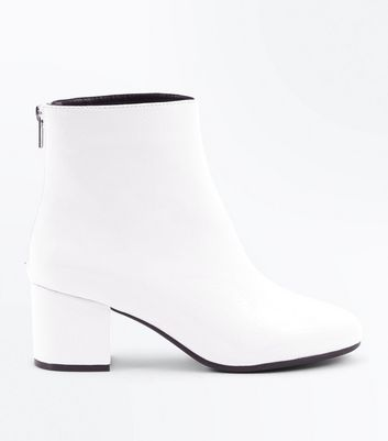 Wide Fit White Patent Block Heel Ankle Boots
