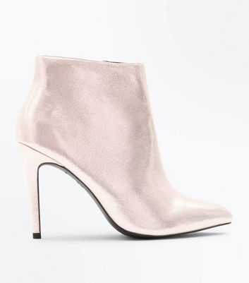 Rose Gold Metallic Stiletto Heeled Shoe Boots