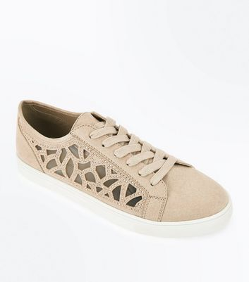 Nude Cut Out Mesh Diamante Trainers