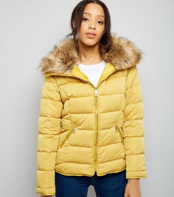 Parisian Yellow Faux Fur Trim Puffer Jacket
