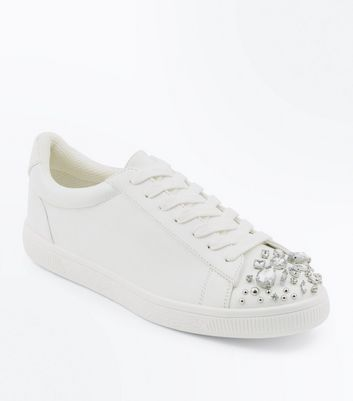 White Embellished Toe Lace Up Trainers