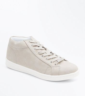 Grey High Top Lace Up Trainers