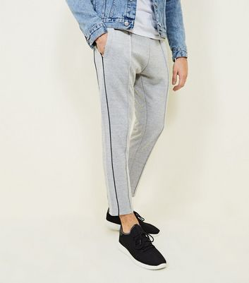 Pale Grey Side Stripe Print Joggers