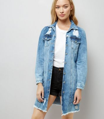 Blue Oversized Fray Hem Denim Jacket