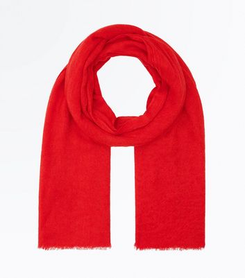 Red Fray Hem Scarf