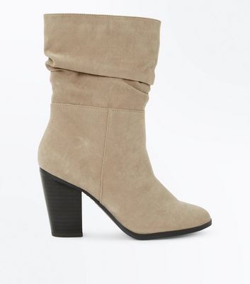Wide Fit Brown Suedette Block Heel Calf Boots